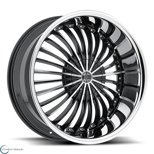 2 Crave Alloys No19 Glossy Black - Machined Face - Chrome Lip 22x9.5 6x127 ET30 CB78.3