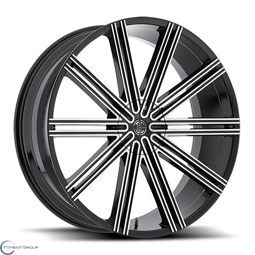 2 Crave Alloys No47 Glossy Black - Machined Face 22x9.5 5x114.3 ET30 CB78.3