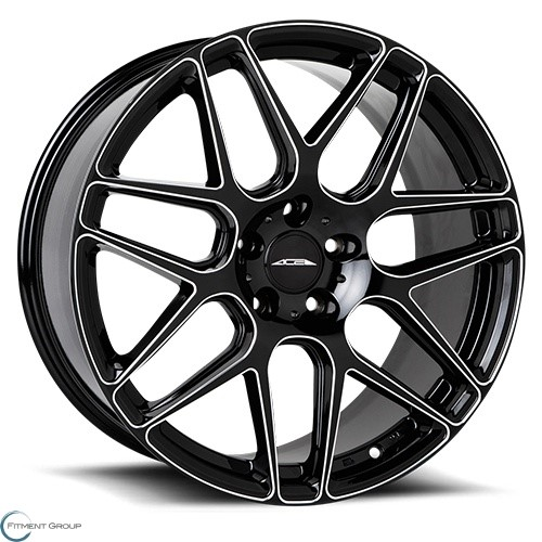 ACE Alloys Mesh 7 Gloss Black with Milled 21x9 5x114.3 ET29 CB72.6