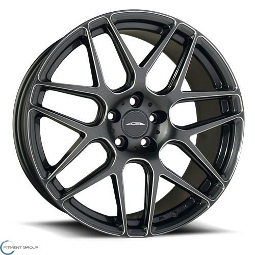 ACE Alloys Mesh 7 Gloss Mica Gray with Milled 21x9 5x112 ET40 CB72.6