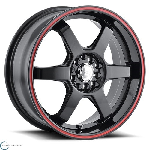 Akita AK55 Black - Red Ring 17x7 4x100 ET40 CB67.1