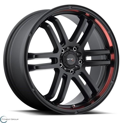 Drifz 207 FX Carbon Black with Red Racing Stripe 15x6.5 4x100 ET42 CB73